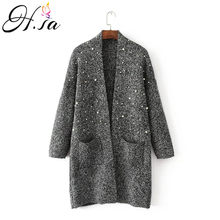 H.SA 2018 Autumn Winter New Sweater Cardigans Pearl Beading Knit Long Cardigans Big Pocket Casual Outwear Female Tops Thick Coat(China)