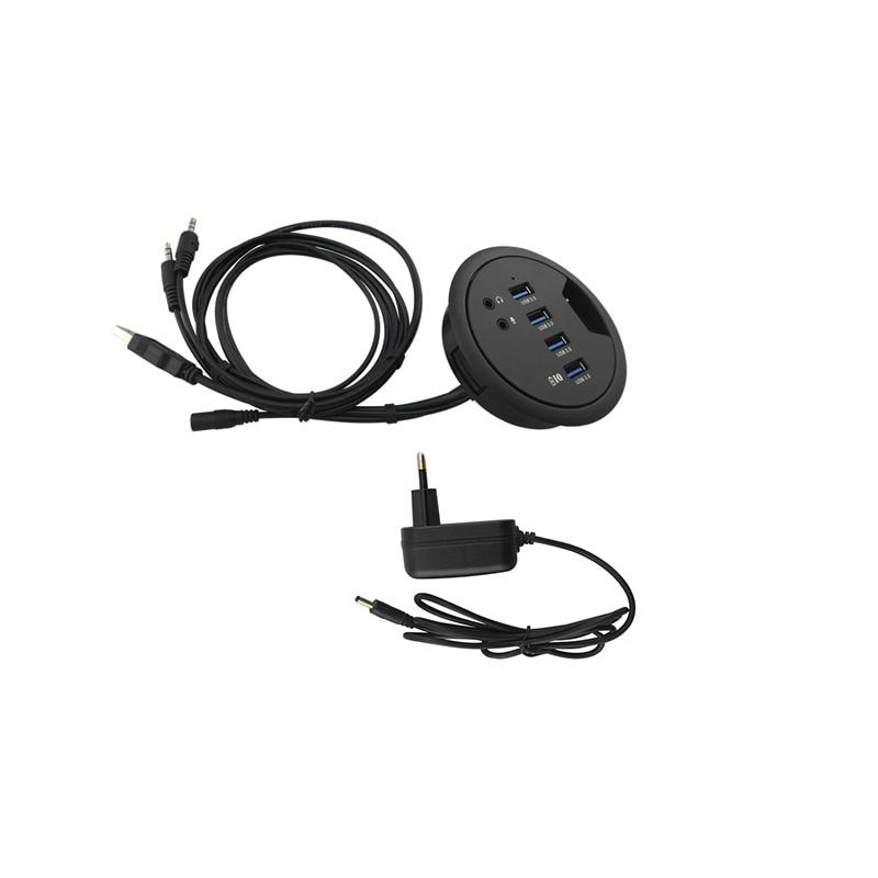 Date 92*78*24mm USB3.0 Gadgets Ordinateur Bureau Trou Splitter Soutien Données Lire la Charge Prolongée PC Audio Microphone Interface