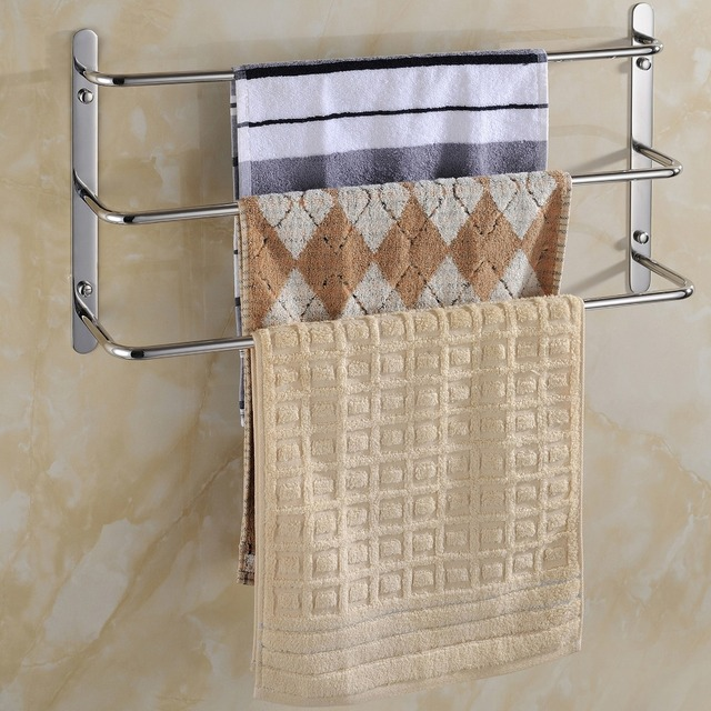 48cm Length Wall Mounted 3 Layers Stainless Steel Towel Rack Mirror  Polished Bathroom Towel Ladder Towel