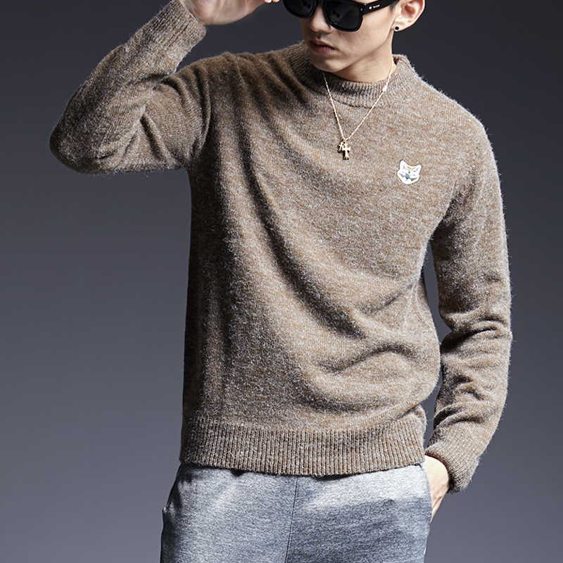 2019 New Fashion Brand Sweater Man Pullover O-Neck Slim Fit Jumpers Knitred Patch Work Winter Korean Style Casual Men Clothes