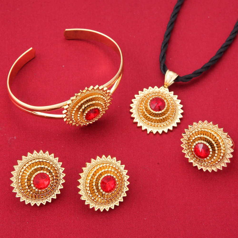 Copper Ethiopian Jewelry 24k Gold Color African Wedding Sets Women