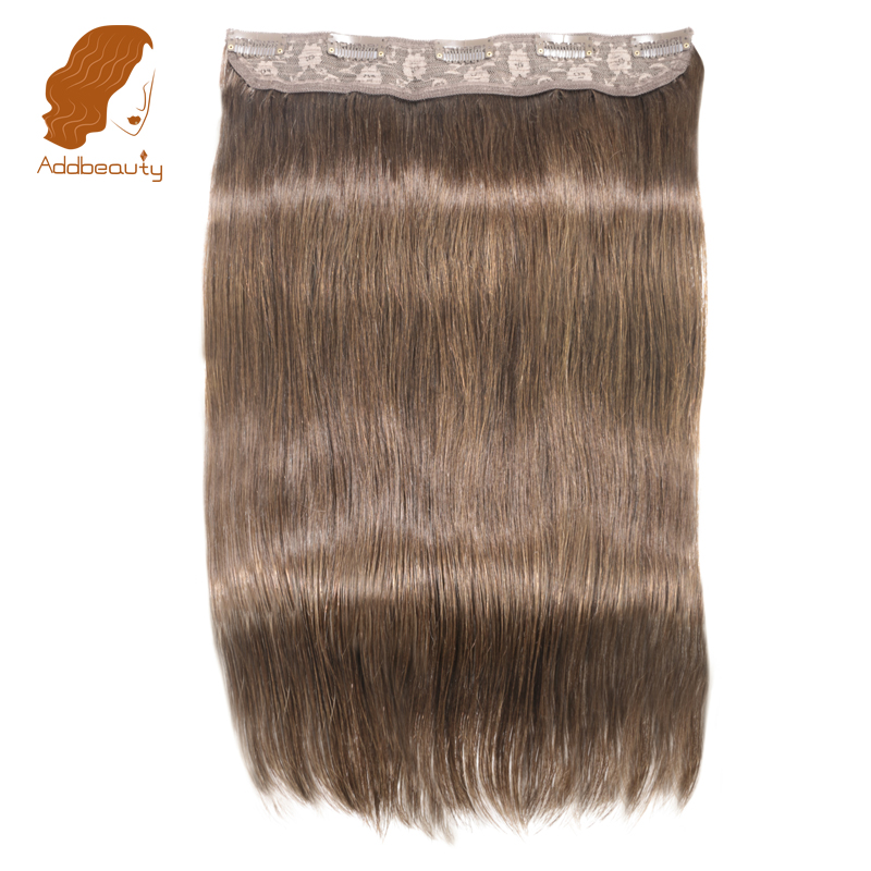 Addbeauty Straight Full Head Clip in Machine Made Remy Hair Extensions 70~100g/pc Dark Brown Color 5 Clips in 1 piece Human Hair