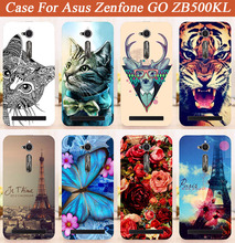 Rose Flowers Painted case For Asus ZB500KL Cover Patterns Special animal Eiffel Towers cover For Asus Zenfone GO ZB500KL 5.0''