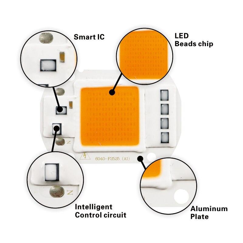 LAN MU LED Grow Light Lamp Smart Chip Full Spectrum Input AC 220V 110V 20W 30W 50W For Indoor Plant Seedling Grow and Flower