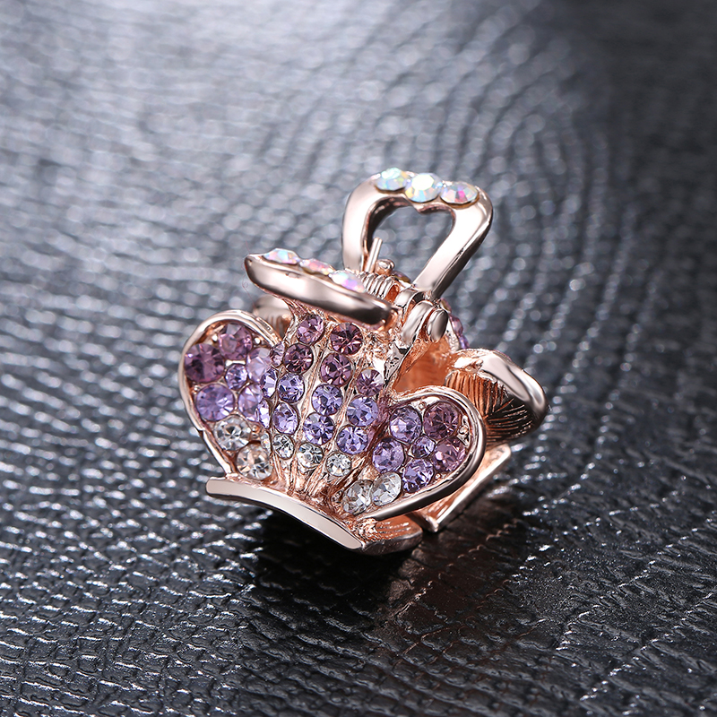 SHUANGR Vintage Jewelry Butterfly Brooches For Women Kids Enamel Purple Crystal Insects Brooch For Jewelry Scarf Buckle Hairpin