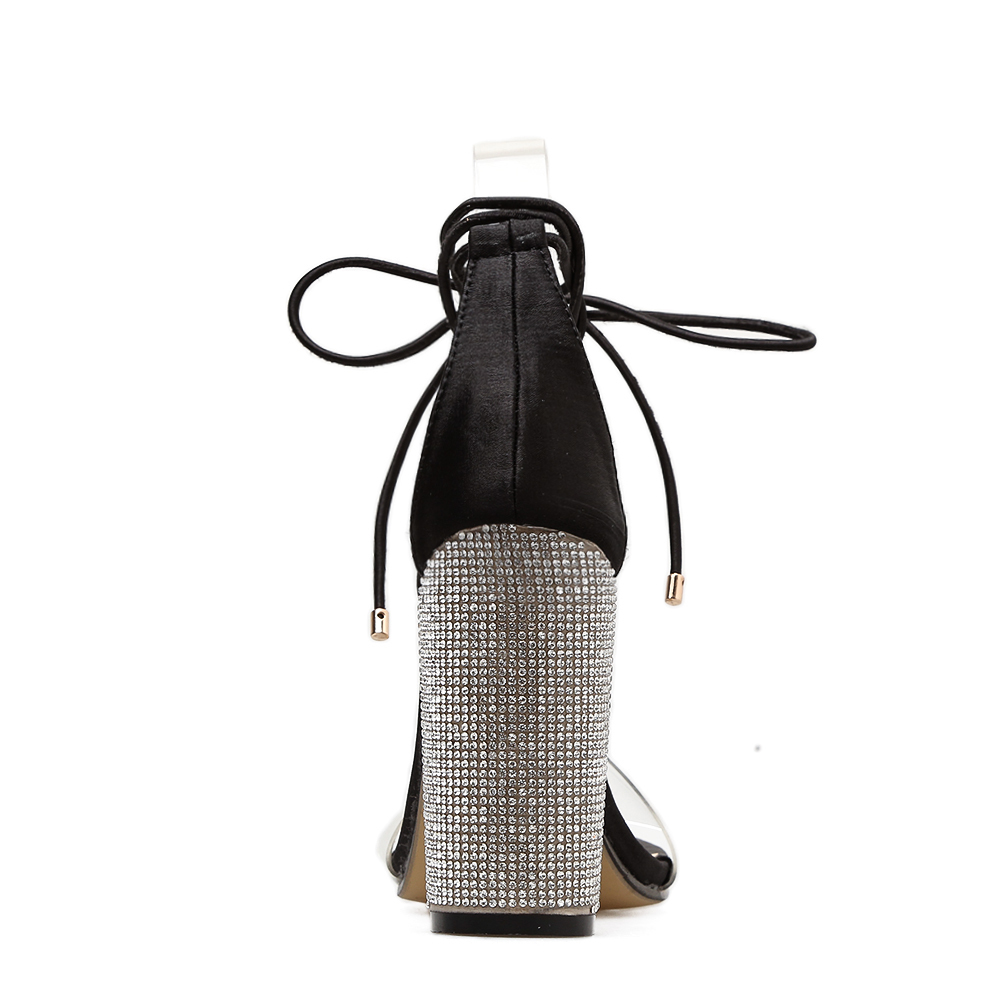 2018 Fashion Women Sandals Snake Print Crystal High Heels Shoes Woman Open Toe Summer Sandalias thick Heels Zapatos