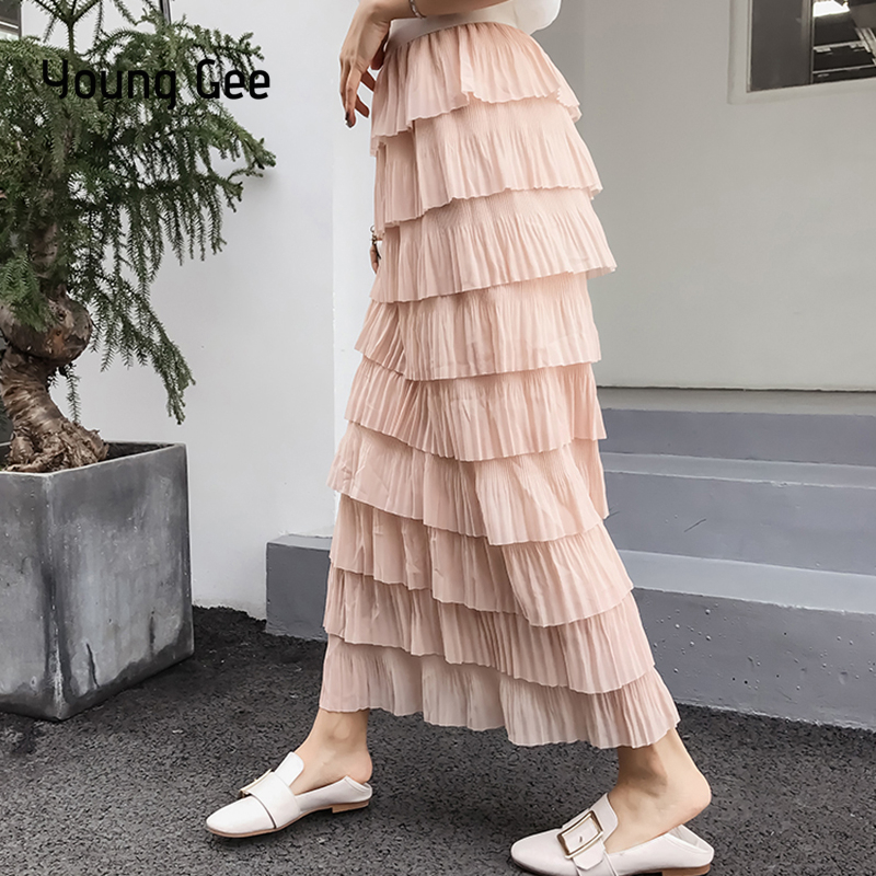317004e457b48 US $18.3 30% OFF|Young Gee Spring Summer Women Fashion Sweet Chiffon Layers  Long Skirt Female Students All match High Waist Cake Skirts faldas-in ...