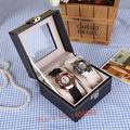 Hot sell black leather couple watch display box organizer bracelet decoration show case for sale