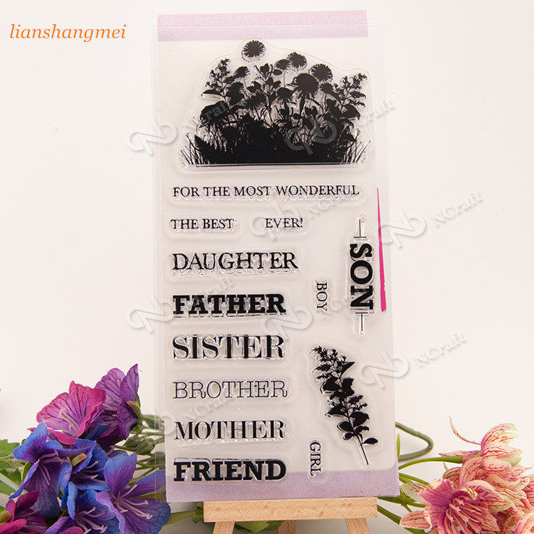 Name Clear Silicone Stamp for DIY scrapbooking/photo album Decorative craft 228 angel and trees clear stamp variety of styles clear stamp for diy scrapbooking photo album wedding gift ll 163