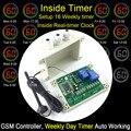 GSM-SEMANAL Relé GSM Interruptor Remoto Controlador Embutido no relógio para 16 temporizador automático de trabalho dois Relé de Controle