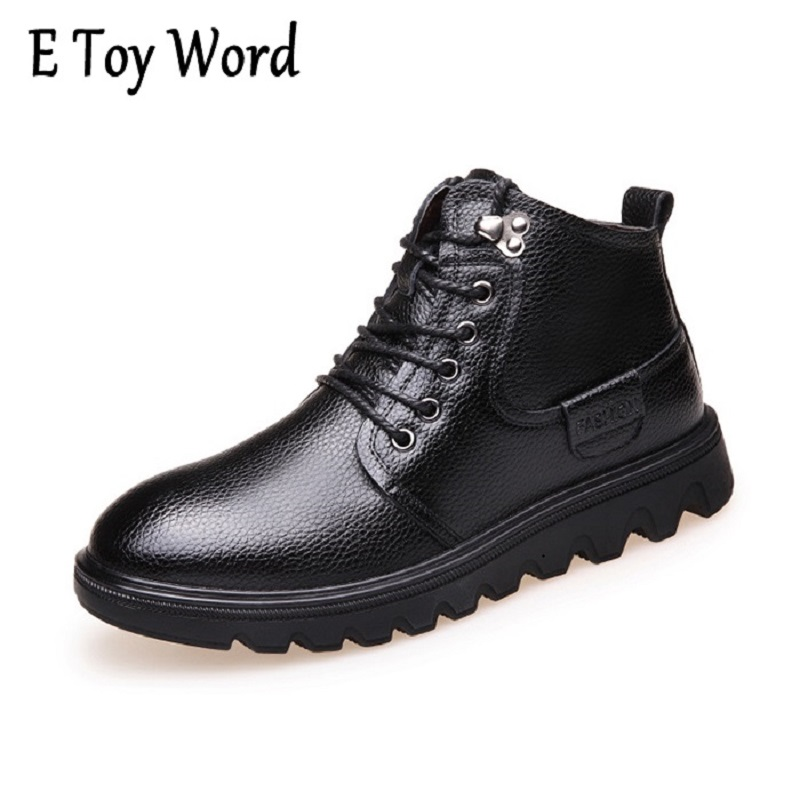 2017 New Arrive Men Causal Shoes Autumn Winter Front Lace-Up Leather Ankle Boots Shoes Man Casual High Top shoes Men