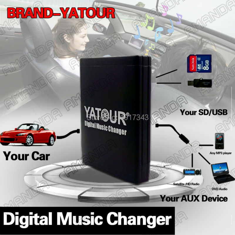 YATOUR CAR DIGITAL MUSIC CD CHANGER AUX MP3 SD USB ADAPTER 8PIN CONNECTOR FOR FIAT 500 2007-2011 RADIOS car usb sd aux adapter digital music changer mp3 converter for seat ibiza 1999 2007 fits select oem radios