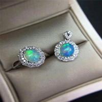 Dazzling natural opal jewelry set 7*9mm natural Australian opal gemstone silver jewelry set solid 925 silver opal jewelry set