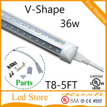 V-Shape T8 Led Tube 5FT 1.5M 36W 3600lm SMD2835 Integrated Cooler Door Led tube light Fluorescent Double Glow lighting 270 angle(China)