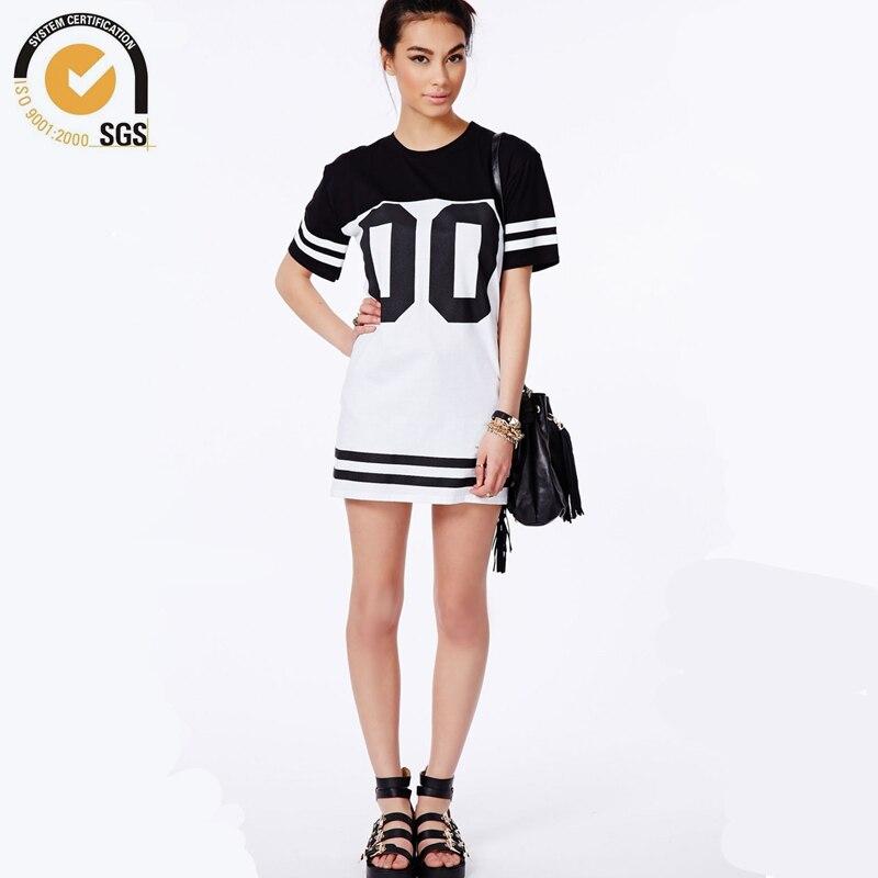 Baseball T Shirt Women Long T Shirt Dress Girls Tee shirt Dresses 2016 Hip Hop T shirts Women ...