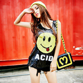 2016 brand new women's Top Lovely Smiling face sequins T-shirt Nightclubs Tank team vest vest ds performance clothing sexy top