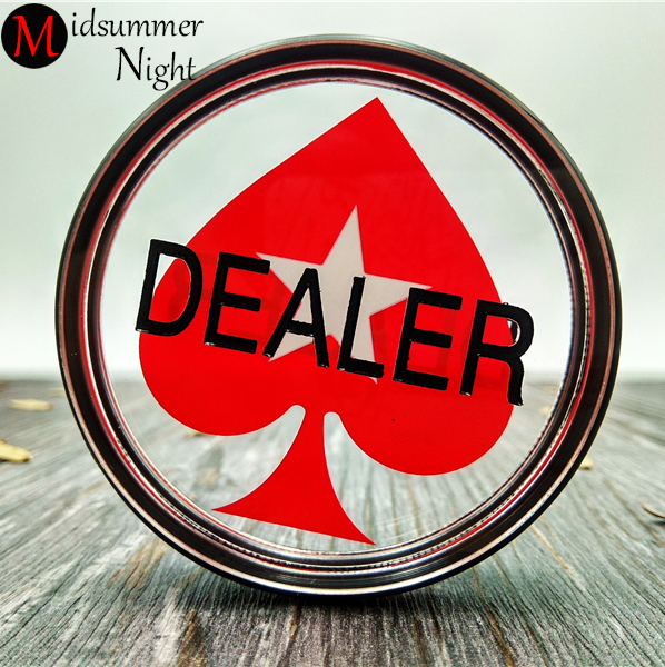 1piece 3inch Acrylic Pressing Poker Cards Guard poker dealer poker button RED Hearts poker chips