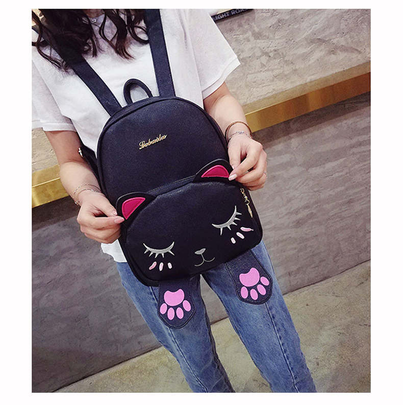Womens Cute Cat Leather Backpack