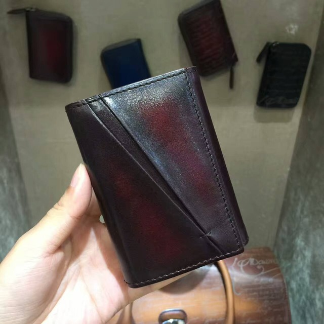 TERSE_2017 New style handmade leather card holder vintage 3 colors business name card wallet id card bag top leather custom