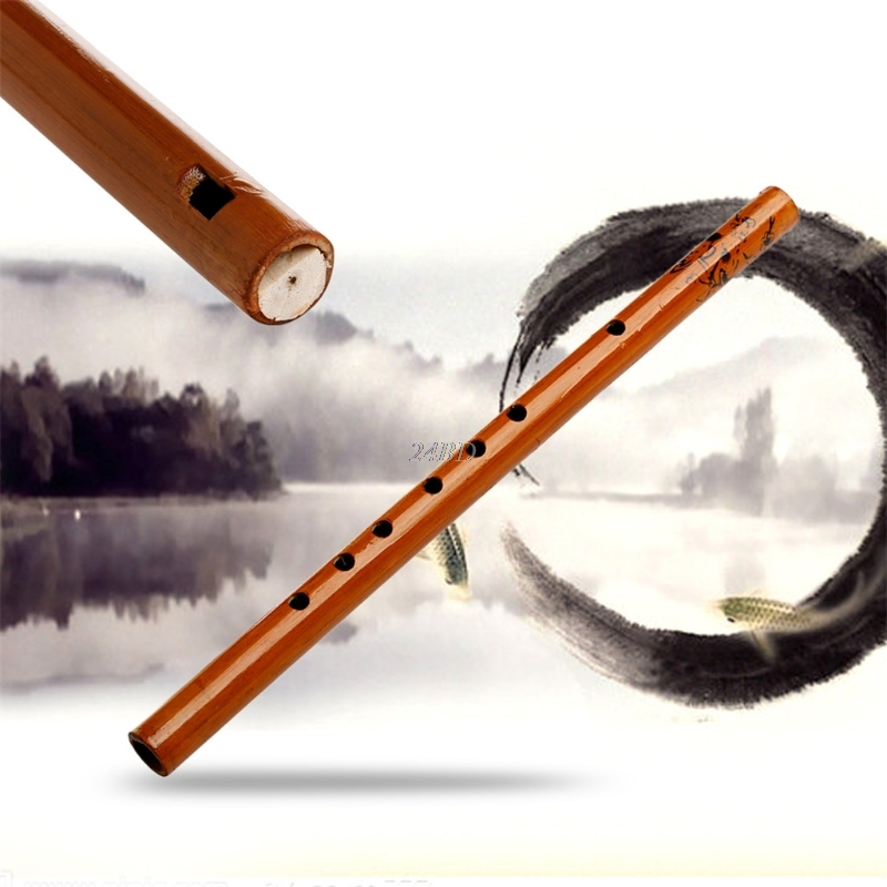 Chinese Traditional 6 Hole Bamboo Flute Clarinet Student Musical Instrument Wood Color