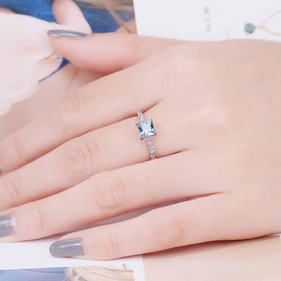 UMCHO Sky Blue Topaz แหวนเงินแท้ Silver 925 Sterling Silver เกาหลีแหวนพลอย Birthstone สาวของขวัญขายส่งเครื่องประดับ