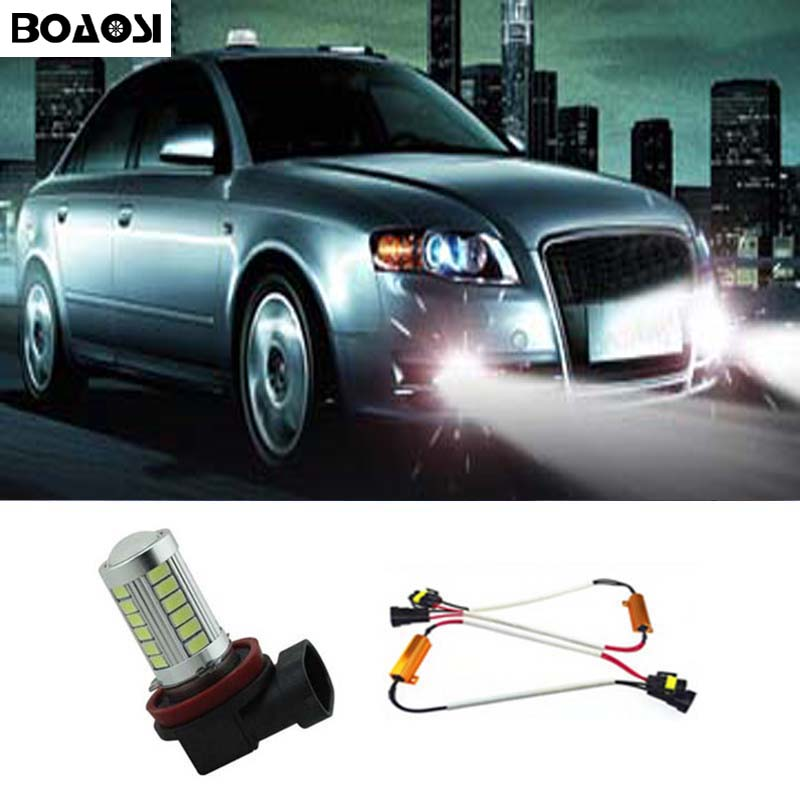 BOAOSI 1x Bright Error free H8 H11 LED Car projector Fog Light bulb No Error For Audi A3 A4 A5 S5 A6 Q5 Q7 TT boaosi 1x h11 led canbus 5630 33 smd bulbs reflector mirror design for fog lights no error for audi a3 a4 a5 s5 a6 q5 q7 tt