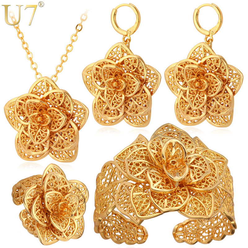 U7 Vintage Big Flower Jewelry Sets Gold Color Necklace Cuff Bracelet Earrings And Ring Bridal Wedding Jewelry For Women Gift S56 a suit of vintage flower leaf necklace and earrings for women