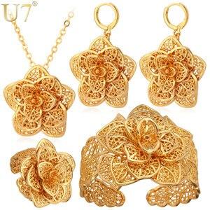 Image 1 - U7 Vintage Flower Jewelry Sets Gold Necklace Cuff Bracelet Drop Earrings & Ring Bridal Wedding Jewelry Set For Women Gift S56