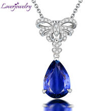 Tanzanite Pendant Solid 18Kt White Gold Diamonds Natural Pear Tanzanite Engagement Pendants Necklace Jewelry For Women Wedding noble jewelry emerald cut 6x8mm solid 18k two tone gold natural diamond tanzanite pendants jewelry for women wp070