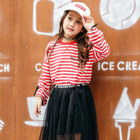 2018 Baby Girls Red Stripe Tee Shirts Tees For Teenage Kids Fashion Korean Design Cute Clothing