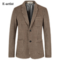 E-artist Fashion Slim Fit Woolen Blazer Jackets Mens Lattice Pattern Casual Coat Suits Outwear Overcoats Plus Size 5XL X26