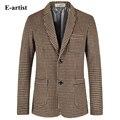 E-artista Moda Slim Fit Lã Blazer Jaquetas Mens Malha Padrão Casual Suits Brasão Outwear Sobretudos Plus Size 5XL X26