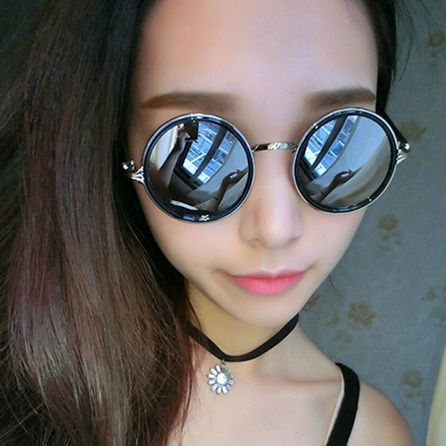 13313ca60 Lukcy Lion Retro Round Outdoor Sunglasses Women Female Brand Designer Alloy  Frame Mirror Sun Glasses Colorful Coating Eyewear