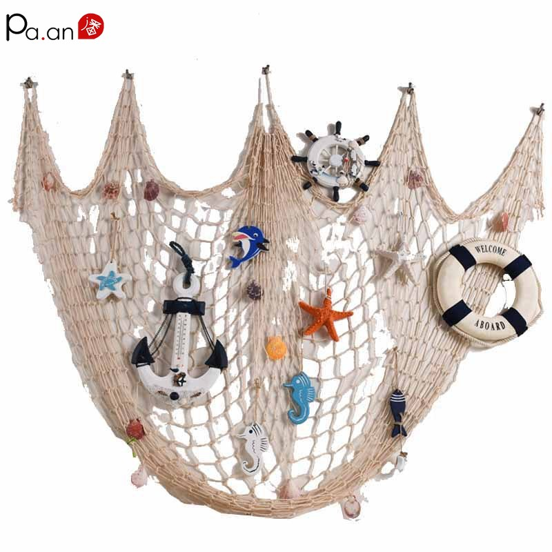 Mediterranean Fishing Net Nautical Home Decor Seashell Anchor Decor Sea Decoration Hand-woven Float Wall Decoration Marine Style