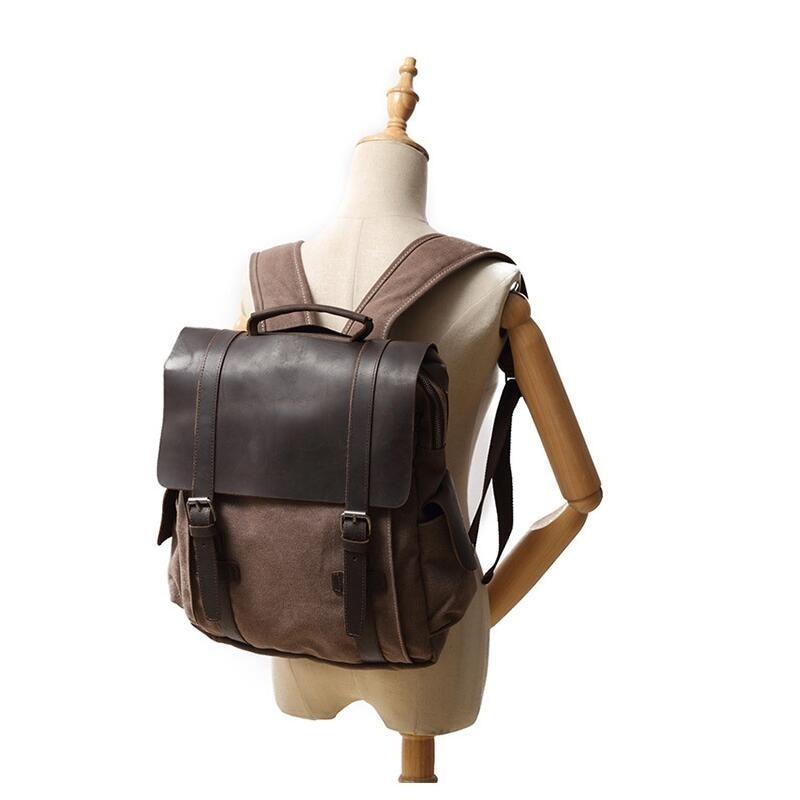 YUPINXUAN Vintage Algodón puro lona mochilas de cuero mochila escolar para hombres bolsa de viaje a prueba de desgaste portátiles de gran capacidad mochilas-in Mochilas from Maletas y bolsas    2
