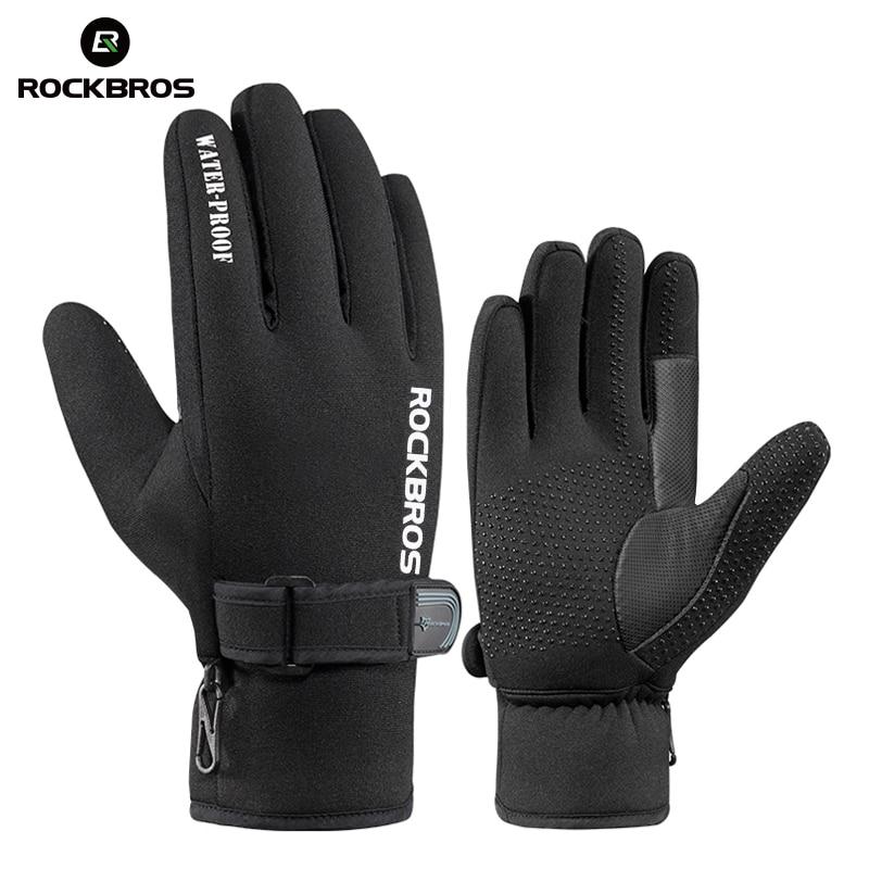 ROCKBROS Snowboard Fleece Warmer Ski Gloves Skiing Winter Waterproof Protection Gloves Gel Anti-slip Anti-shock Motorcycle Glove