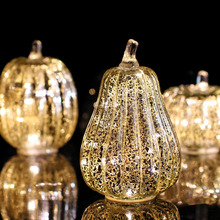 Mercury Glass Pumpkin Flameless Candle for Halloween and Thanksgiving Decor, Led light with Timer,Silver