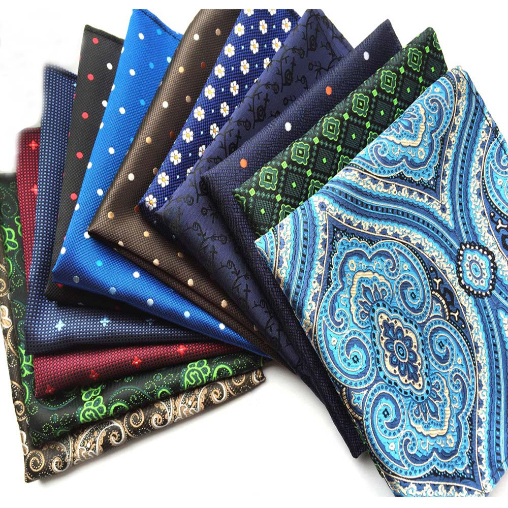 Men's Formal Pocket Square High Grade Paisley Polka Dots Handkerchief Hanky HZTIE0324