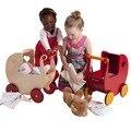 Moover Bonecas Carrinho De Bebê, Bebê De Madeira walker Mais Seguro, Natural e cor Vermelha para disponível