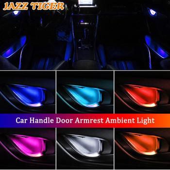 4 sztuk oświetlenie otoczenia wnętrza samochodu wgłębienie klamki po wewnętrznej stronie drzwi uchwyt podłokietnik atmosfera światła światło do BMW F22 F23 E46 E90 E92 F30 E39 E60 tanie i dobre opinie JAZZ TIGER NONE CN (pochodzenie) Klimatyczna lampa Interior Ambient Light 0 2A IP55 4pcs lot original car socket length 50mm 35mm width 10mm