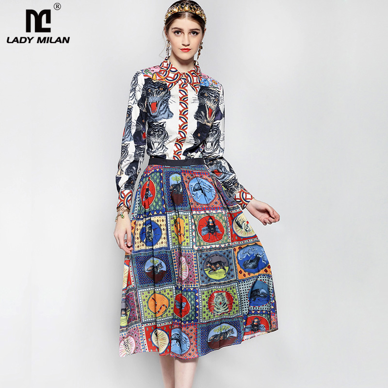 New Arrival 2018 Womens Turn Down Collar Long Sleeves Printed Shirts with Pleated Skirts Elegant Runway Twinsets