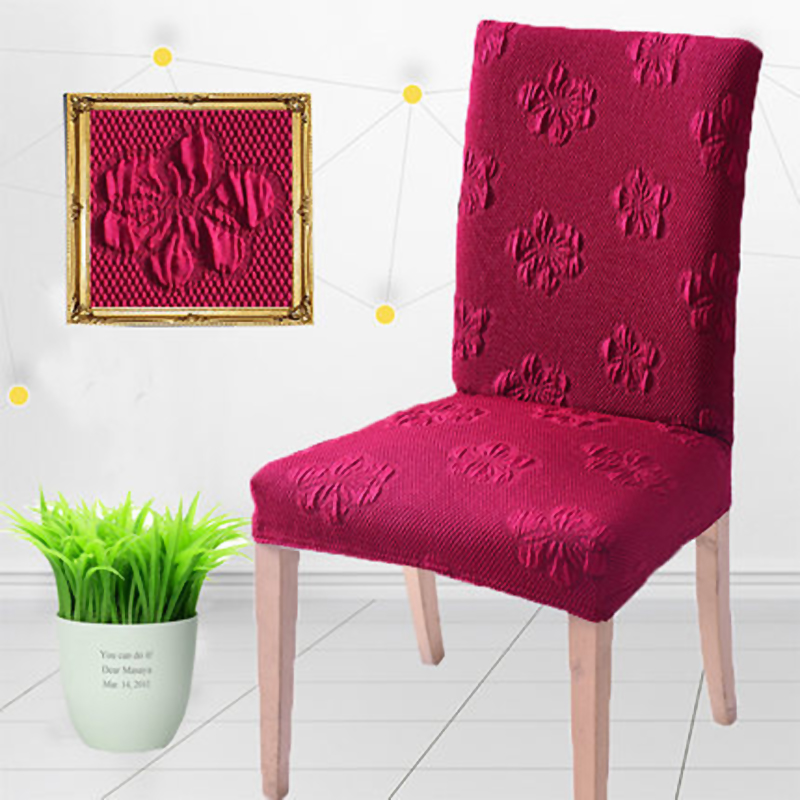 1pc Spandex Polyester Stretch Elegant Flower Jacquard Burgundy Chair Cover  Solid Color Party Dining Chair Seat Covers Home Decor