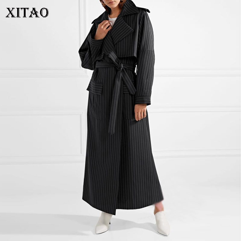 [XITAO] Korea 2018 New Arrival Autumn Casual Women Turn-Down Collar Striped Long Coats Female Full Sleeve Bandage   Trench   GWY2305