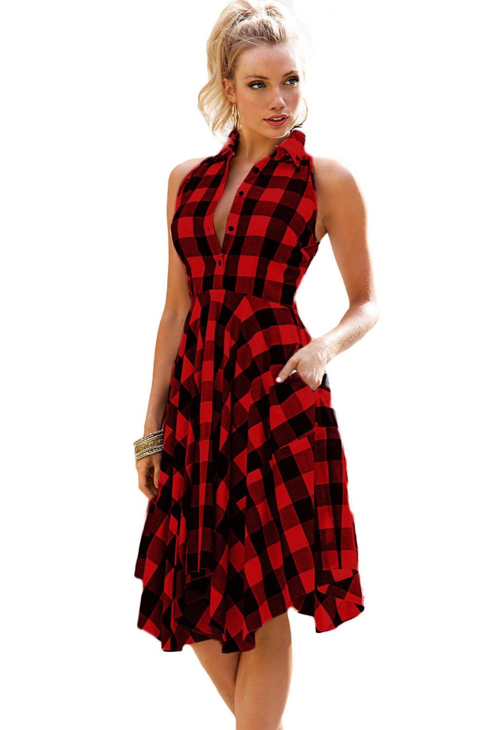 Two Tone Denim Checks Flared Shirt Dress 2017 Plaid Dresses Fashion