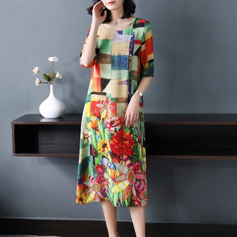 Imitate Real Silk Dress 2019 New Summer Fashion Vintage Women Dress Lady's Loose Print Casual Clothes Lady's Evening Party Dress