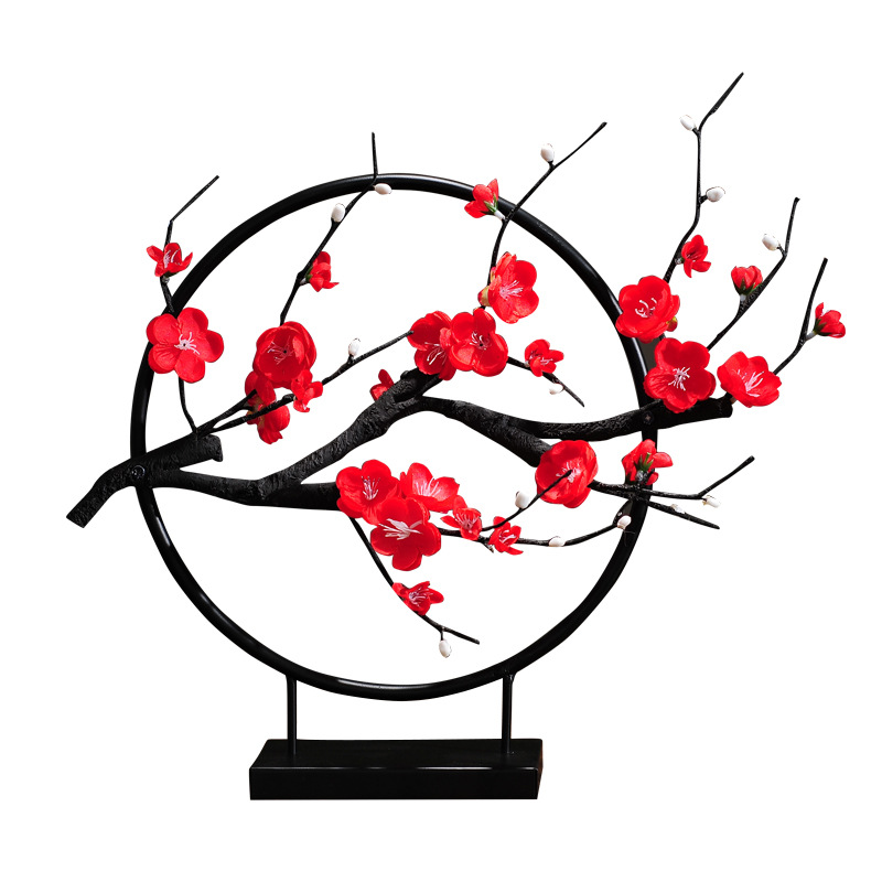 New Chinese Zen Ornaments Plum Blossom Flower Round Shape Creative Home Furnishing Cabinet Model Tenant Hall Iron Craft R1591