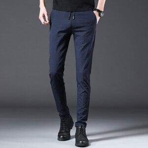 Image 5 - Jantour 2020 Pantaloni Degli Uomini di Modo Slim Fit Primavera estate di Alta Qualità di Business Classico Piatto Pieno Lunghezza sottile Casual Pantaloni maschio