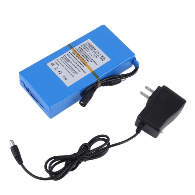 12000mAh Super Rechargeable Battery Lithium Li-Ion Batteries with AC Power Charger US Plug For Wireless Transmitter CCTV Camera