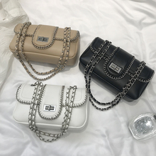 EstuaQueen Luxury Classical Black Chains Women Bag Brand Fashion Pu Leather Handbag Diamond Lattice Lady Shoulder Crossbody Bag