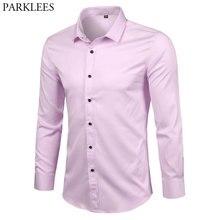 Pink Bamboo Fiber Shirt Men 2018 New Slim Fit Long Sleeve Mens Dress Sh